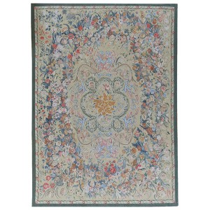 Pasargad One-of-a-Kind Aubusson Hand-Woven Wool Money Green/Blue/Red Area Rug PAGD4611