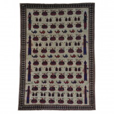 World Menagerie One-of-a-Kind Fincham Xl Afghan Baluch War Tanks Grenades Oriental Hand-Knotted Beige Area Rug RGRG7958