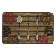 Fleur De Lis Living Graver HD Printed Rustic Utensils Kitchen Mat DSFK1011