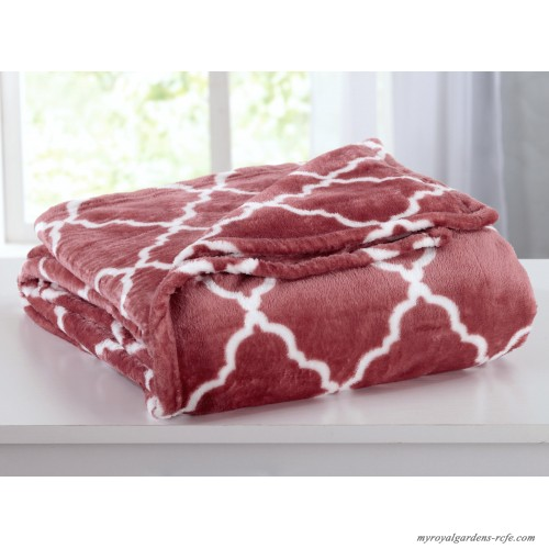 Home Fashion Designs Ultra Velvet Plush Super Soft Printed Bed Blanket With Lattice Scroll Hfas1417