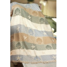 Manual Woodworkers Weavers Seashells by the Seashore Cotton Throw MANU2230
