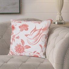 Lark Manor Cecilia Traditional Bird Floral Outdoor Throw Pillow LRKM4612