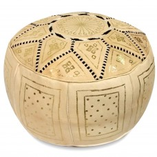 World Menagerie Carnuel Moroccan Leather Pouf WRMG2328